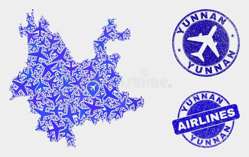 Lotniczego samolotu kolażu Yunnan prowincji Grunge i mapy Wektorowi znaczki ilustracji