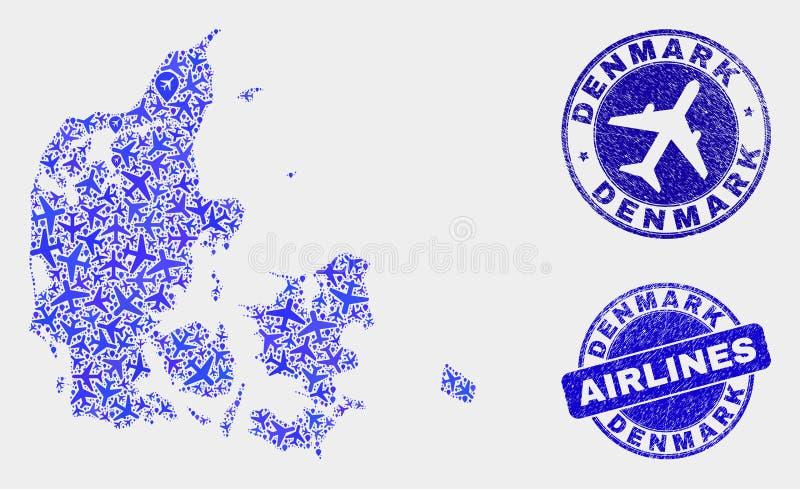 Lotniczego samolotu mozaiki Dani Grunge i mapy Wektorowe foki royalty ilustracja