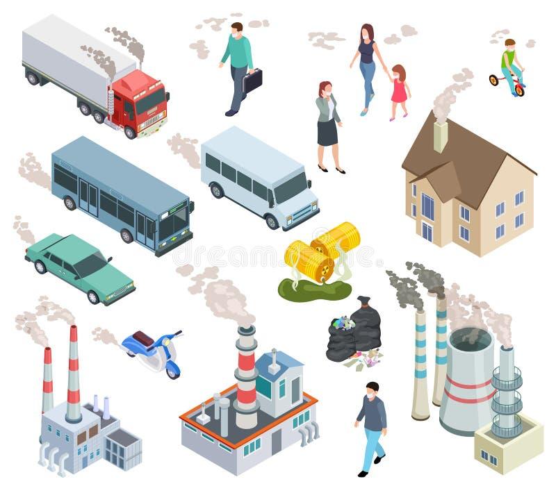 lotniczego t?a b??kitny fabryczny zanieczyszczenie Chemiczny polutanta pojazd zanieczyszczał lotniczych ludzi zjadliwi promieniot ilustracja wektor