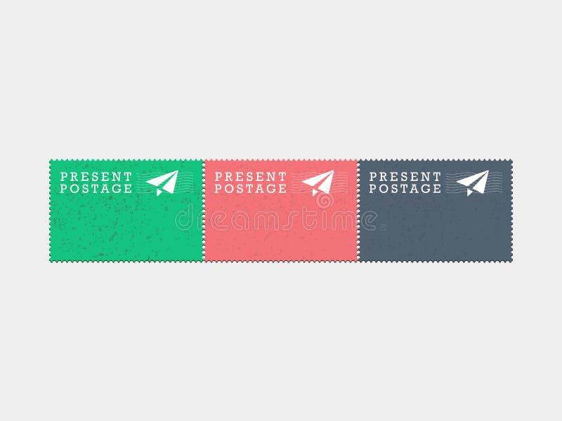 Lotniczej poczta teraźniejszości znaczków pocztowych rocznika modnisia stylu wektorowej grafiki ilustracja odizolowywająca na lek ilustracji