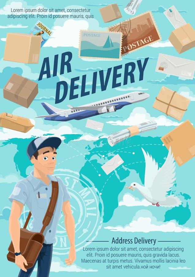 Lotniczej poczty dostawa, mailman i samolot, ilustracji
