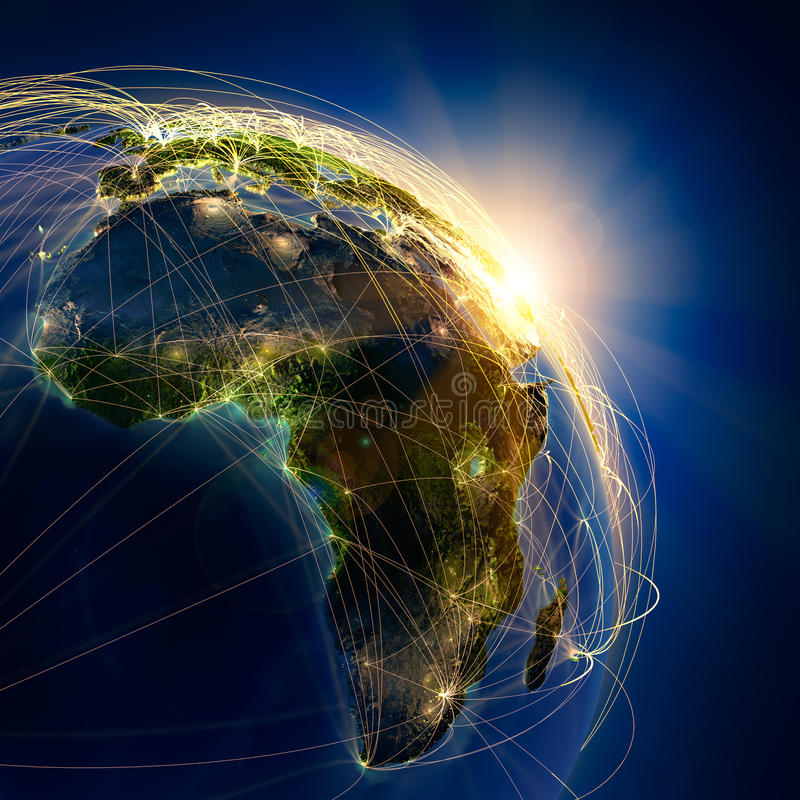 lotniczy Africa główni szlaki ilustracji