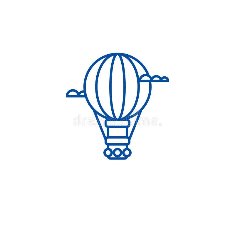 Lotniczy balon, aerostat ikony kreskowy pojęcie Lotniczy balon, aerostata płaski wektorowy symbol, znak, kontur ilustracja ilustracja wektor