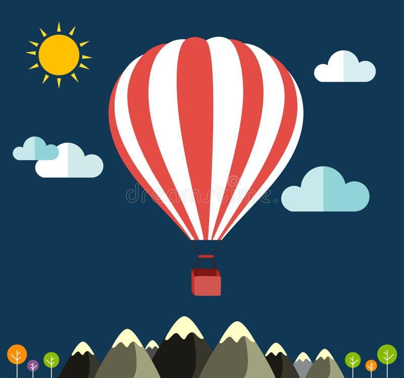 Lotniczy balon lata nad halnymi ikonami podróżować royalty ilustracja