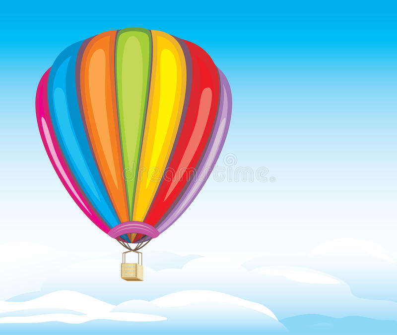 Lotniczy balon na chmurnym tle ilustracji