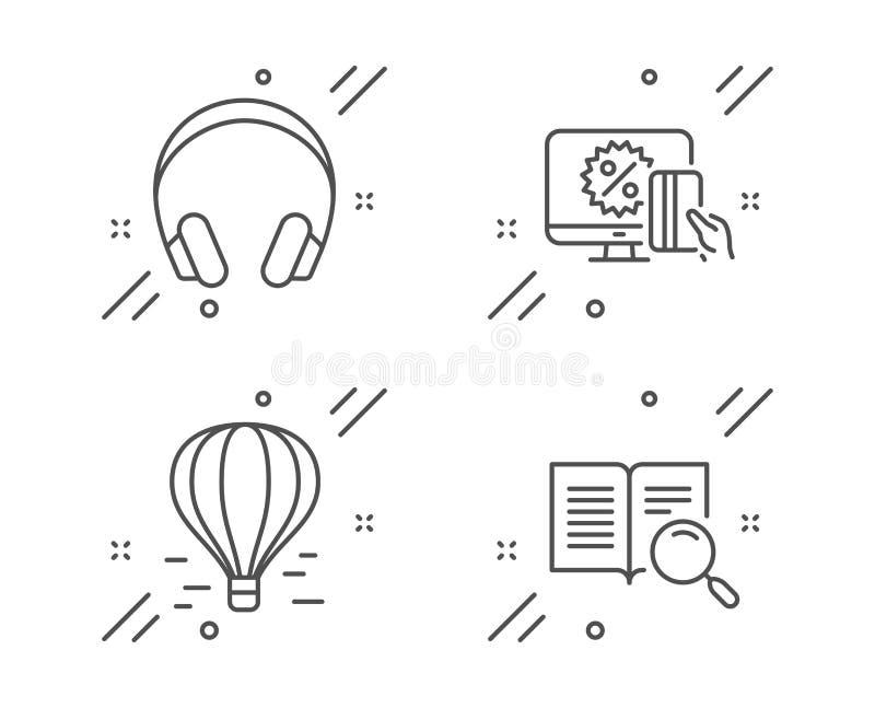 Lotniczy balon, Online zakupy i hełmofon ikony ustawiać, Rewizja teksta znak wektor ilustracji
