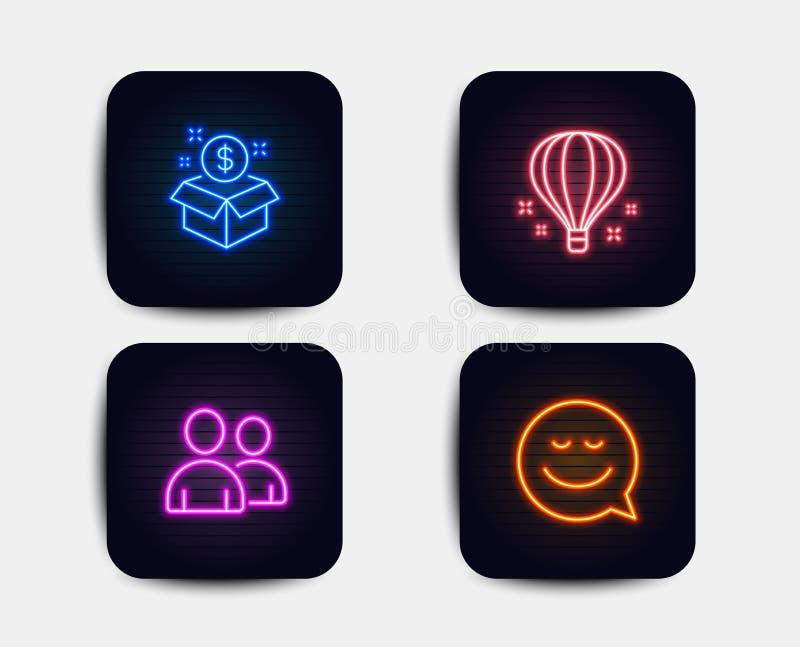 Lotniczy balon, poczta pakunek i użytkownik ikony, Uśmiechu znak Nieba podróżowanie, Postbox, para ludzie Gadki emocja wektor ilustracja wektor
