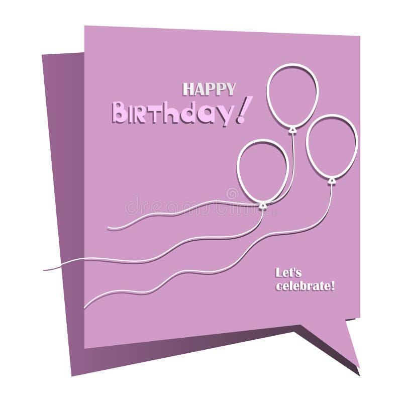 Lotniczy balony szczęśliwy urodziny Pozwala ` s świętować! ilustracji