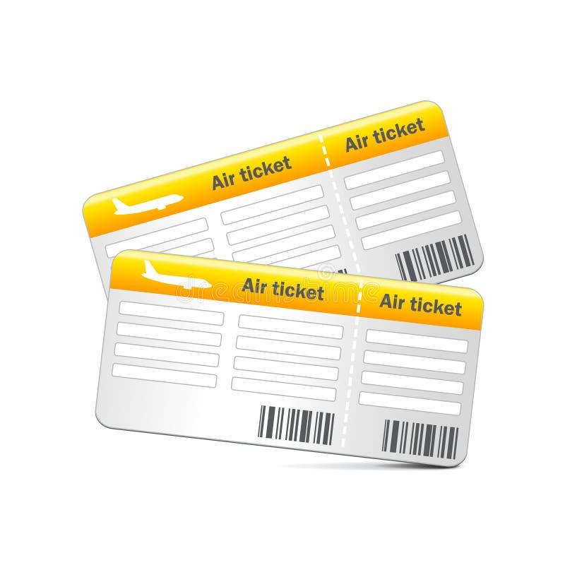 Lotniczy bilety odizolowywający na białym wektorze ilustracji