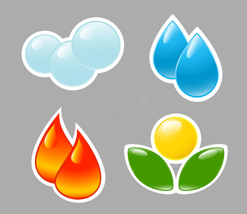 lotniczy elementy podpalają wodę gruntową cztery ilustracji