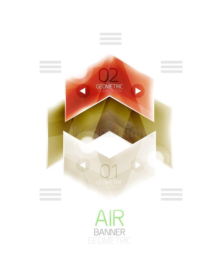 Lotniczy lekki glansowany projekt strzała Sieci informaci pudełko lub ui menu element ilustracja wektor