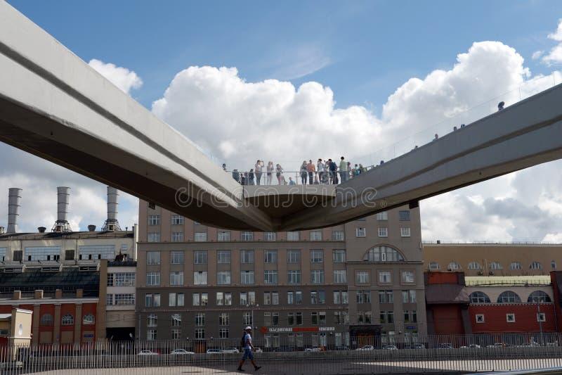 Lotniczy most krajobrazu parka ` Zaryadye ` w Moskwa zdjęcia royalty free