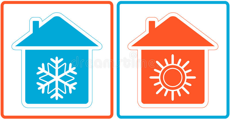 Lotniczy uwarunkowywać symbol - grże i zimno w domu ilustracja wektor