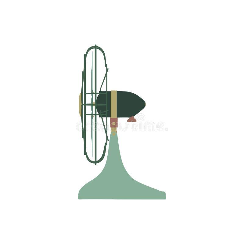 Lotniczy uwarunkowywać wektorowy kolor zieleni fan, domowego klimatu wyposażenia płaski boczny widok odizolowywający na białym tl ilustracja wektor