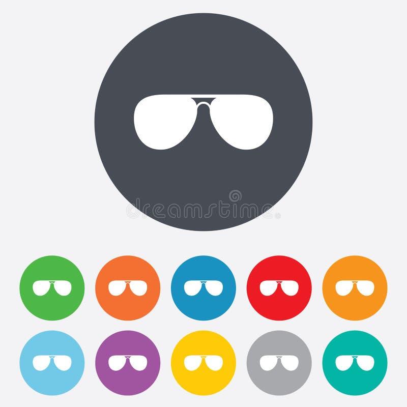 Lotników okularów przeciwsłonecznych szyldowa ikona. Pilotowi szkła. ilustracja wektor