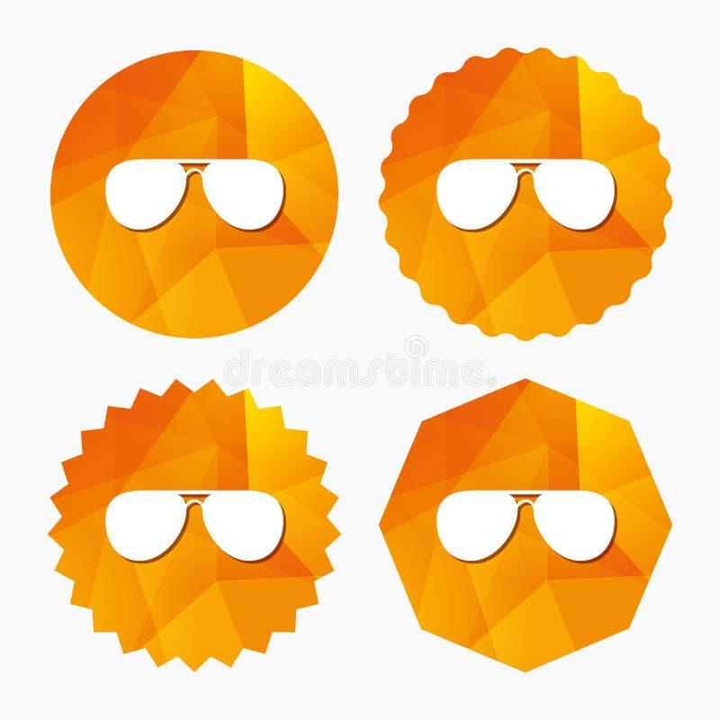 Lotników okularów przeciwsłonecznych szyldowa ikona Pilotowi szkła ilustracji
