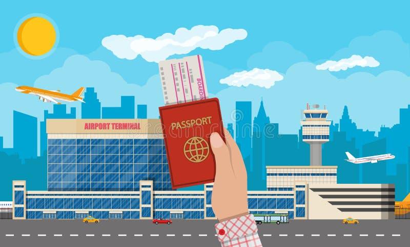 Lotniska międzynarodowego pojęcie royalty ilustracja