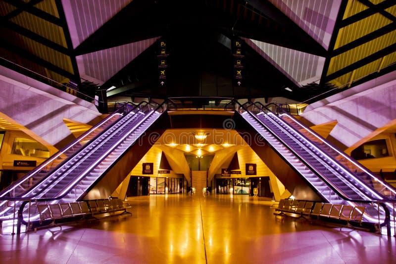 Lotnisko przy nocą obraz stock