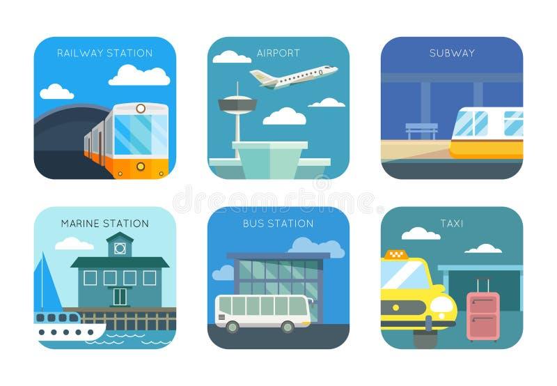Lotnisko, stacja, autobus lub taxi, kolei i żołnierza piechoty morskiej, royalty ilustracja
