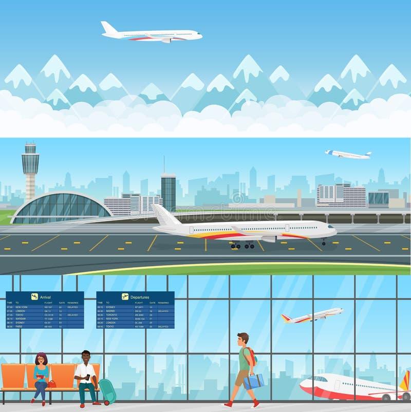 Lotnisko sztandarów szczegółowi horyzontalni wektorowi szablony Poczekalnia w terminal z pasażerów ludźmi samochodowej miasta poj ilustracji