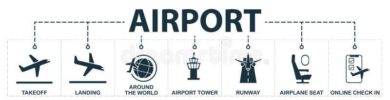 Lotnisko ustalone ikony inkasowe Zawiera prostych elementy tak jak start, lądowanie, dookoła świata, samolotowy siedzenie, pas st ilustracji