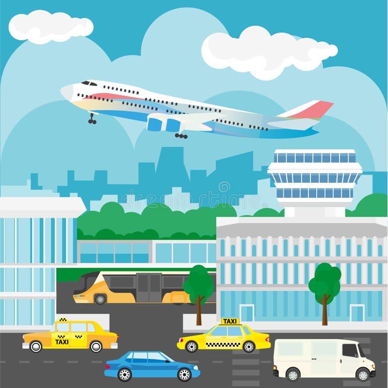 Lotnisko w miasto projekcie Ruchliwie ruch drogowy, autobusy i taxi, budynki ilustracja wektor