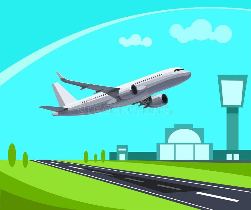 Lotnisko z pasa startowego i latania pojęcia Płaską ilustracją Szablon dla infographic royalty ilustracja