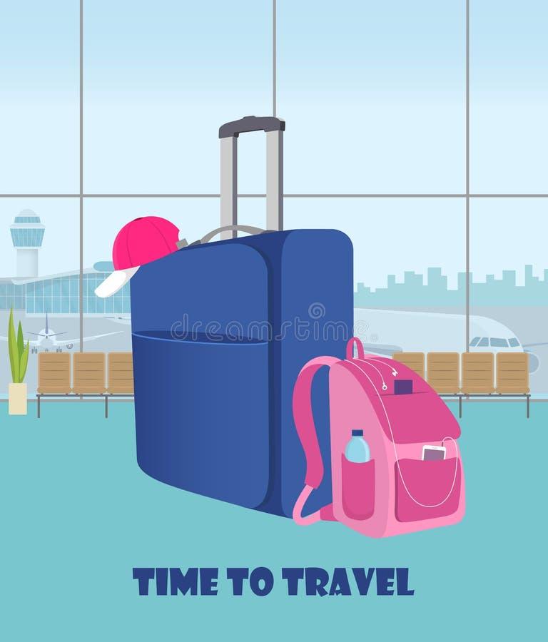 Lotniskowa czekanie sala z walizką i plecakiem w przedpolu Śmiertelnie wnętrze, panoramiczny okno, samoloty i wieża kontrolna, o royalty ilustracja