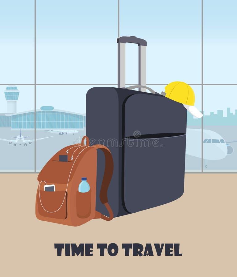 Lotniskowa czekanie sala z walizką i plecakiem w przedpolu Śmiertelnie wnętrze, panoramiczny okno, samoloty i wieża kontrolna, o ilustracji