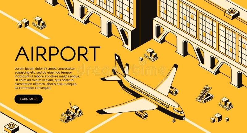 Lotniskowa frachtowa logistyka wektoru ilustracja ilustracja wektor