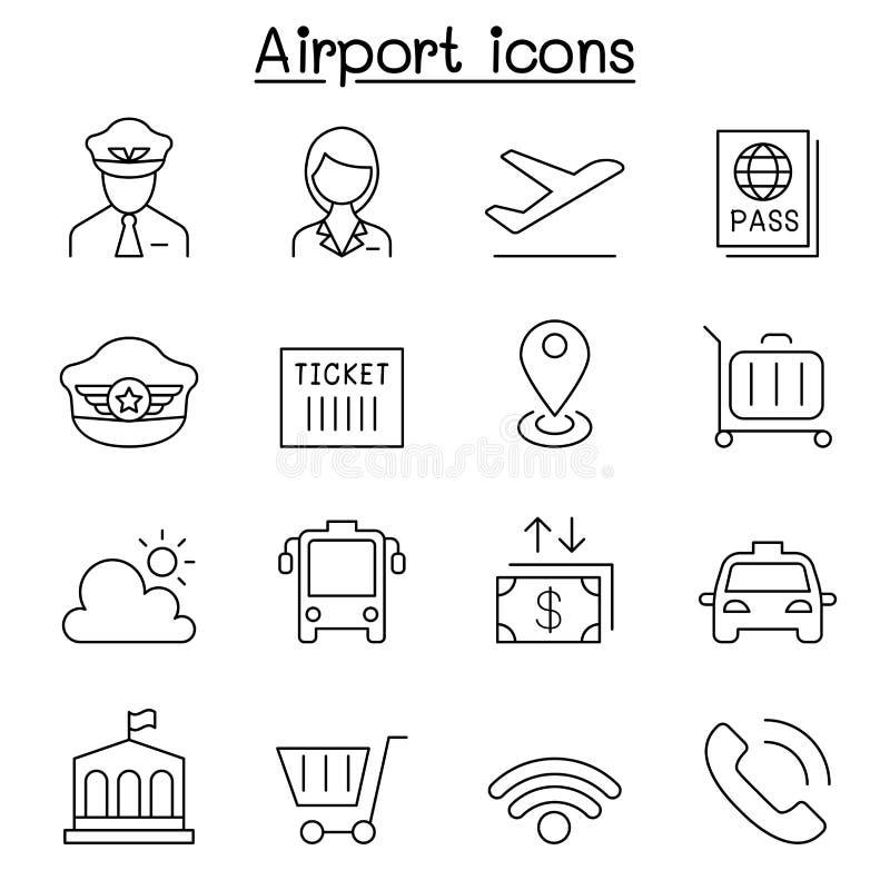 Lotniskowa ikona ustawiająca w cienkim kreskowym stylu ilustracja wektor