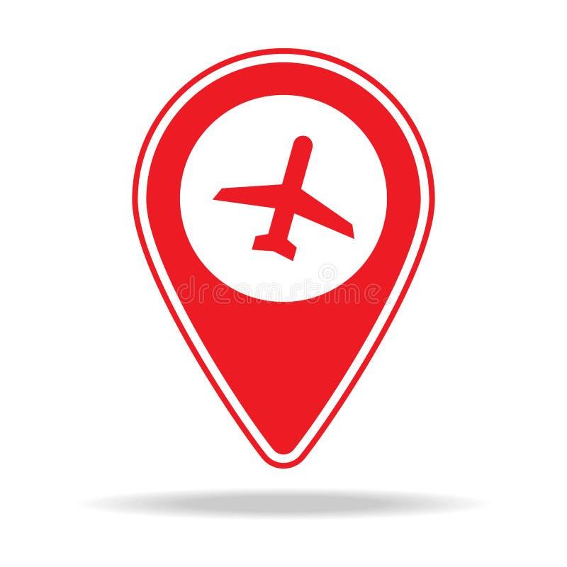lotniskowa mapy szpilki ikona Element ostrzegawcza nawigaci szpilki ikona dla mobilnych pojęcia i sieci apps Szczegółowa lotnisko ilustracji