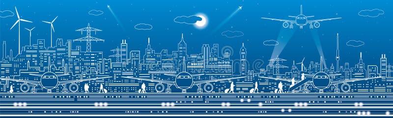 Lotniskowa panorama Pasażery iść samolot Lotnictwo podróży transportu infrastruktura Samolot jest na pasie startowym noc ilustracja wektor