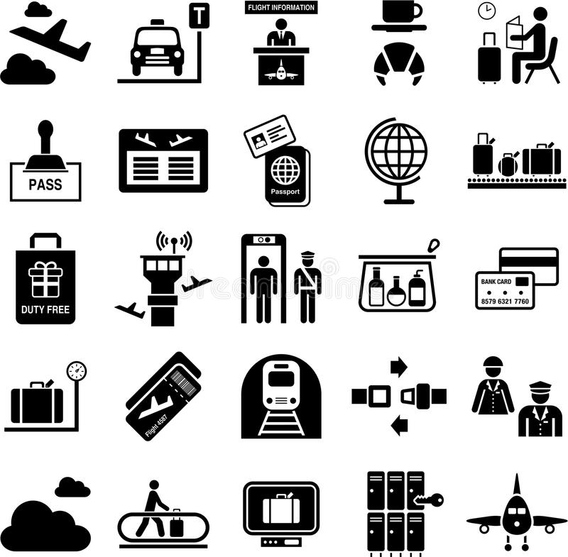 Lotniskowe ikony ilustracja wektor