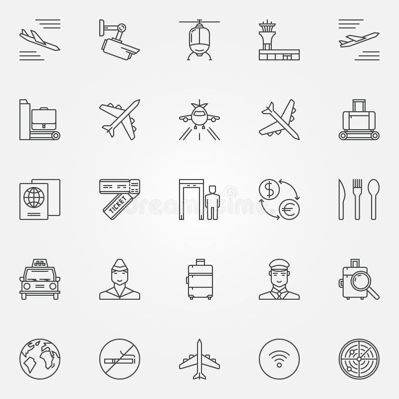 Lotniskowe ikony ustawiać - wektor podróży powietrznej ciency kreskowi symbole Lotnisko royalty ilustracja