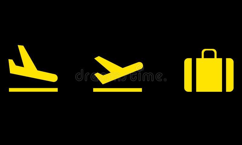 lotniskowe ikony ustawiają royalty ilustracja