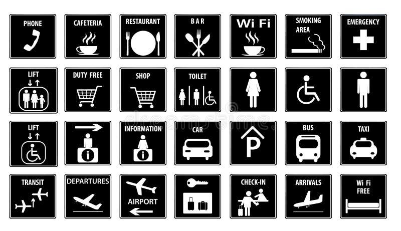 lotniskowe ikony ustawiają również zwrócić corel ilustracji wektora ilustracji