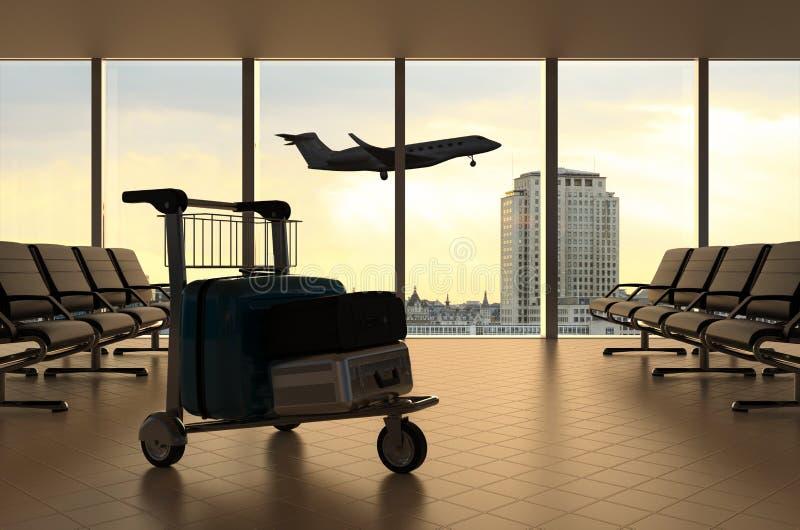 lotniskowego błękitny pokoju stonowany czekanie ilustracja wektor