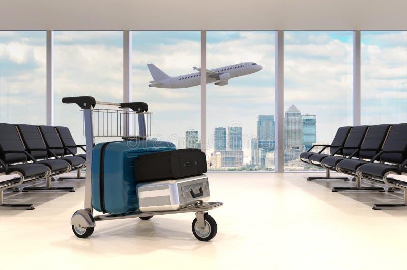 lotniskowego błękitny pokoju stonowany czekanie royalty ilustracja