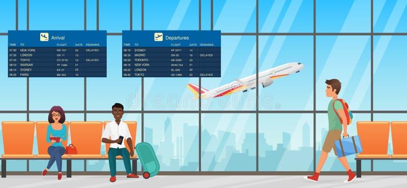 lotniskowego błękitny pokoju stonowany czekanie Wyjściowy hol z krzesłami, ewidencyjnymi panel i ludźmi, Śmiertelnie sala z samol ilustracja wektor