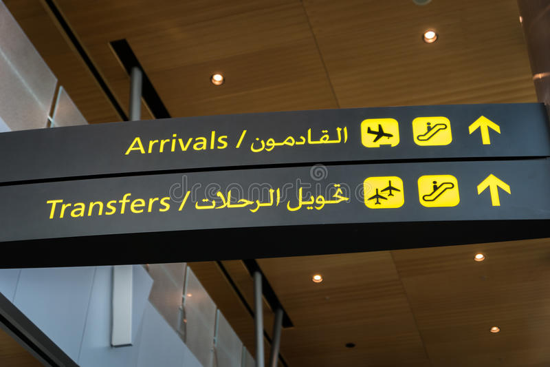 Lotniskowego przeniesienia, przyjazdu znak/ obraz royalty free