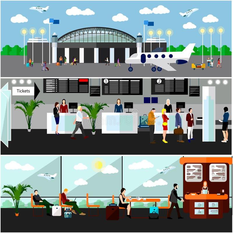 Lotniskowego terminal pojęcia wektoru ilustracja Lotniczy biletowy biuro, odprawa kontuary i czekanie teren, ilustracja wektor