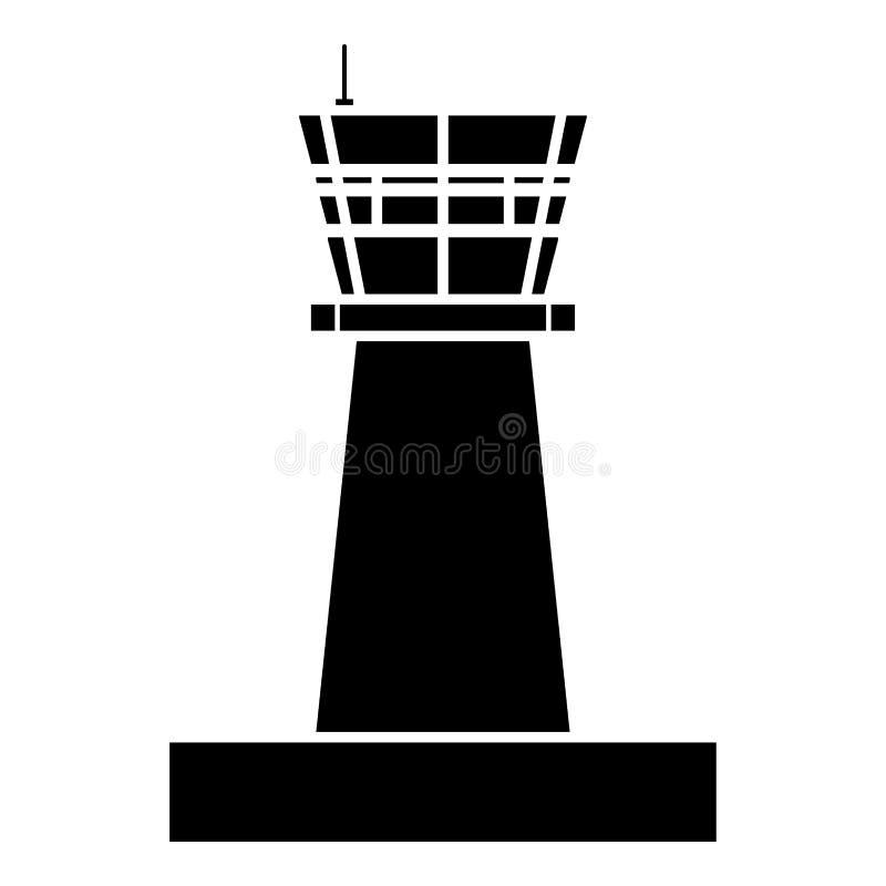 Lotniskowego wieży kontrolnej wieży kontrolnej ruchu powietrznego ikony czerni koloru mieszkania stylu wektorowy ilustracyjny wiz ilustracji