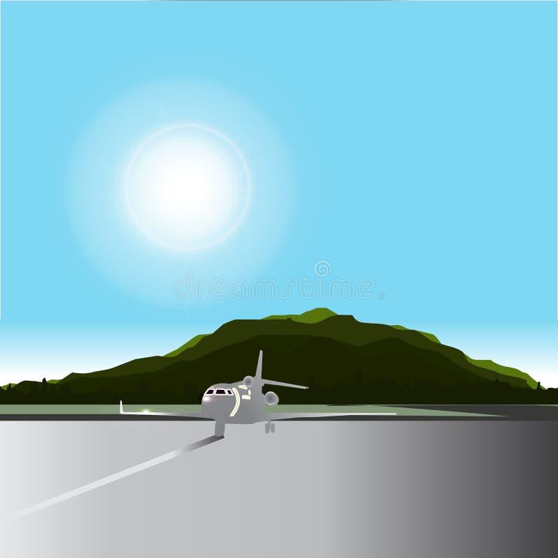 Lotniskowi widoki są górzyści za parkującym samolotem obrazy royalty free