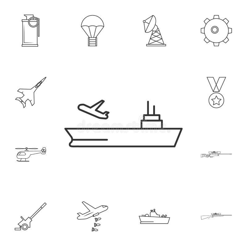 Lotniskowiec kreskowa ikona Element popularna wojsko ikona Premii ilości graficzny projekt Znaki, symbol inkasowa ikona dla websi royalty ilustracja