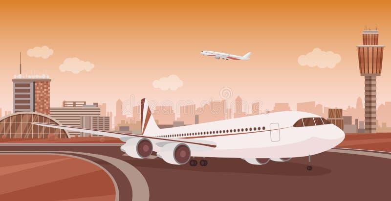 Lotniskowy Śmiertelnie budynek z samolotem bierze daleko Monochromatycznego mono koloru lotniska wektorowy krajobraz ilustracja wektor