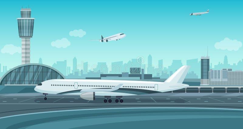 Lotniskowy Śmiertelnie budynek z samolotem bierze daleko Monochromatycznego mono koloru lotniska wektorowy krajobraz ilustracji