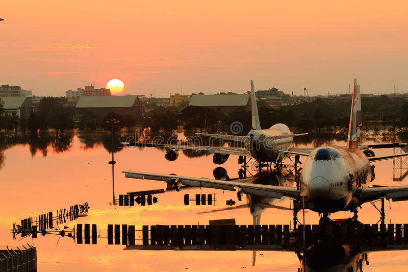 lotniskowy Bangkok donmaung wylew zdjęcie royalty free