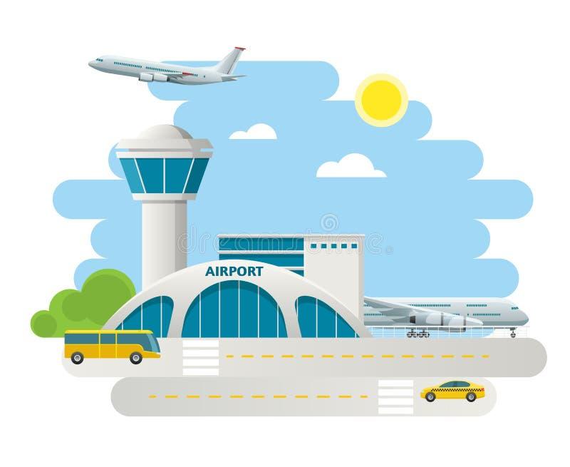Lotniskowy budynek i samoloty na pasie startowym, taxi przyjazdy przy lotniskiem na naturalnym krajobrazowym tle Płaski projekta  royalty ilustracja