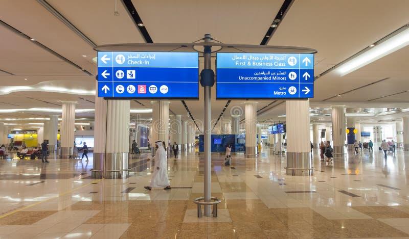 lotniskowy Dubai wnętrza zawody międzynarodowe UAE zdjęcie royalty free